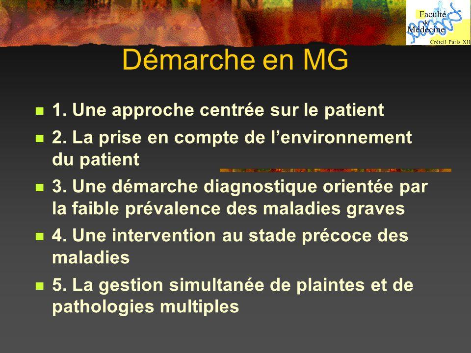 Démarche en MG 1. Une approche centrée sur le patient 2. La prise en compte de lenvironnement du patient 3. Une démarche diagnostique orientée par la