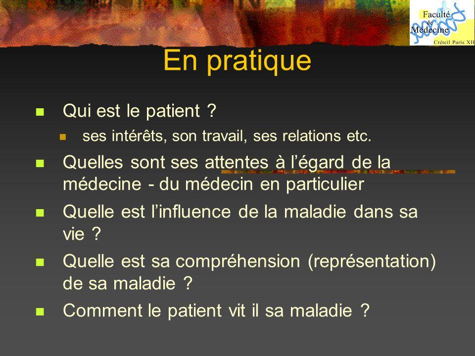 En pratique Qui est le patient ? ses intérêts, son travail, ses relations etc. Quelles sont ses attentes à légard de la médecine - du médecin en parti
