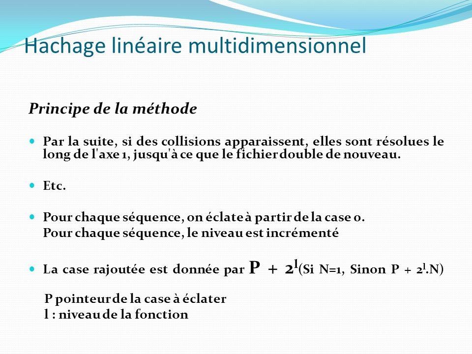 Hachage linéaire multidimensionnel Tableau linéaire dynamique Un tableau d-dimensionnel est dit tableau linéaire dynamique s il peut être généré récursivement comme suit: A 0 = { A(0, 0,..., 0) } A l+1 = A l U A l A 0 = tableau d-dim contenant le seul élément A(0, 0,...,0) A l et A l sont des ensembles ordonnés tel que (1) A l A l =