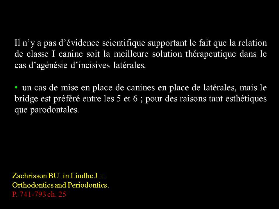 Zachrisson BU. in Lindhe J. :. Orthodontics and Periodontics. P. 741-793 ch. 25 Il ny a pas dévidence scientifique supportant le fait que la relation
