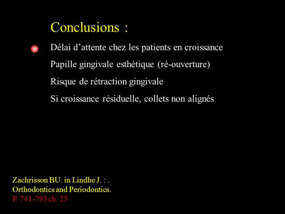 Conclusions : Délai dattente chez les patients en croissance Papille gingivale esthétique (ré-ouverture) Risque de rétraction gingivale Si croissance