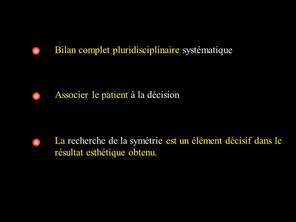 Bilan complet pluridisciplinaire systématique La recherche de la symétrie est un élément décisif dans le résultat esthétique obtenu. Associer le patie