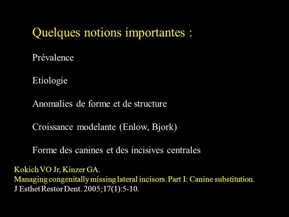 Quelques notions importantes : Prévalence Etiologie Anomalies de forme et de structure Croissance modelante (Enlow, Bjork) Forme des canines et des in