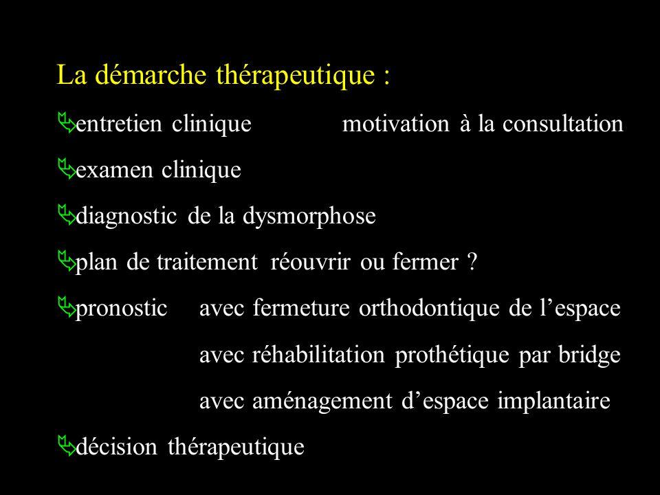La démarche thérapeutique : entretien clinique motivation à la consultation examen clinique diagnostic de la dysmorphose plan de traitement réouvrir o