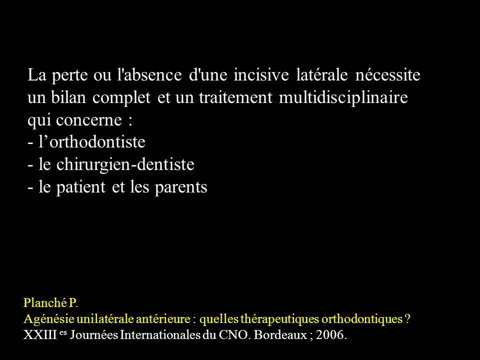 La perte ou l'absence d'une incisive latérale nécessite un bilan complet et un traitement multidisciplinaire qui concerne : - lorthodontiste - le chir