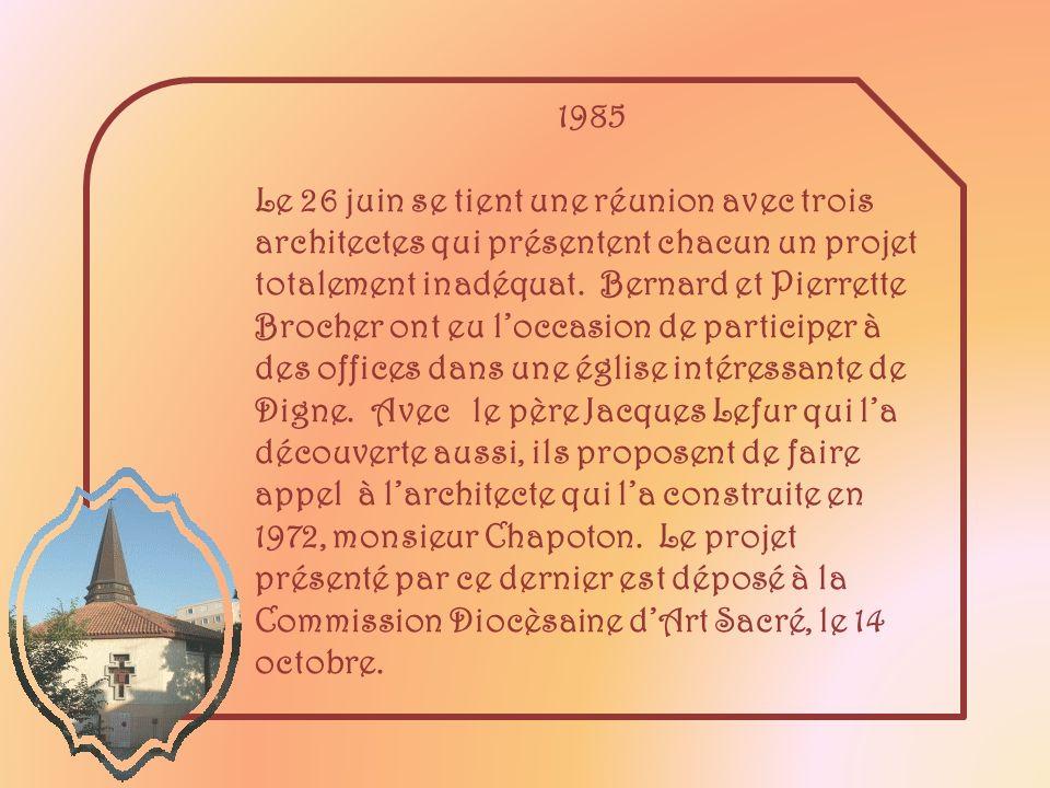 1985 Le 26 juin se tient une réunion avec trois architectes qui présentent chacun un projet totalement inadéquat.