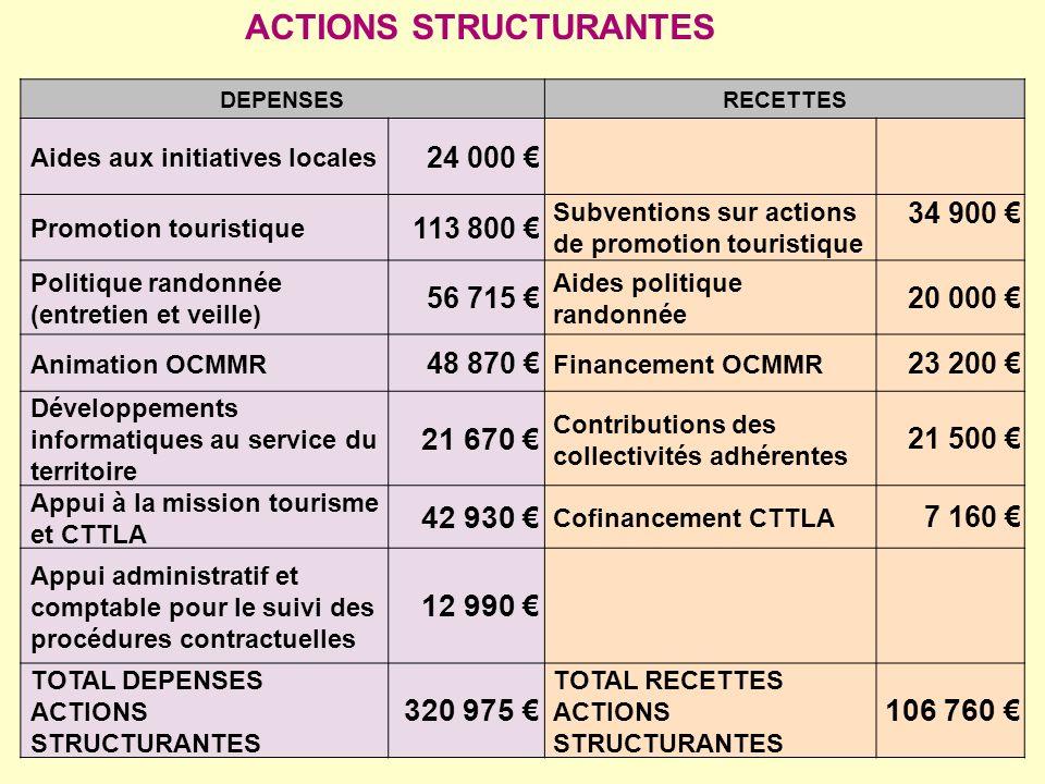 DEPENSESRECETTES Aides aux initiatives locales 24 000 Promotion touristique 113 800 Subventions sur actions de promotion touristique 34 900 Politique