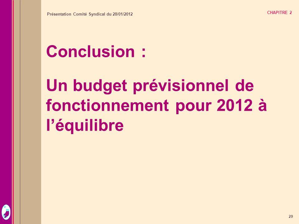 29 Présentation Comité Syndical du 28/01/2012 CHAPITRE 2 Conclusion : Un budget prévisionnel de fonctionnement pour 2012 à léquilibre