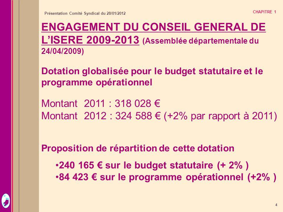 4 Présentation Comité Syndical du 28/01/2012 CHAPITRE 1 ENGAGEMENT DU CONSEIL GENERAL DE LISERE 2009-2013 (Assemblée départementale du 24/04/2009) Dot