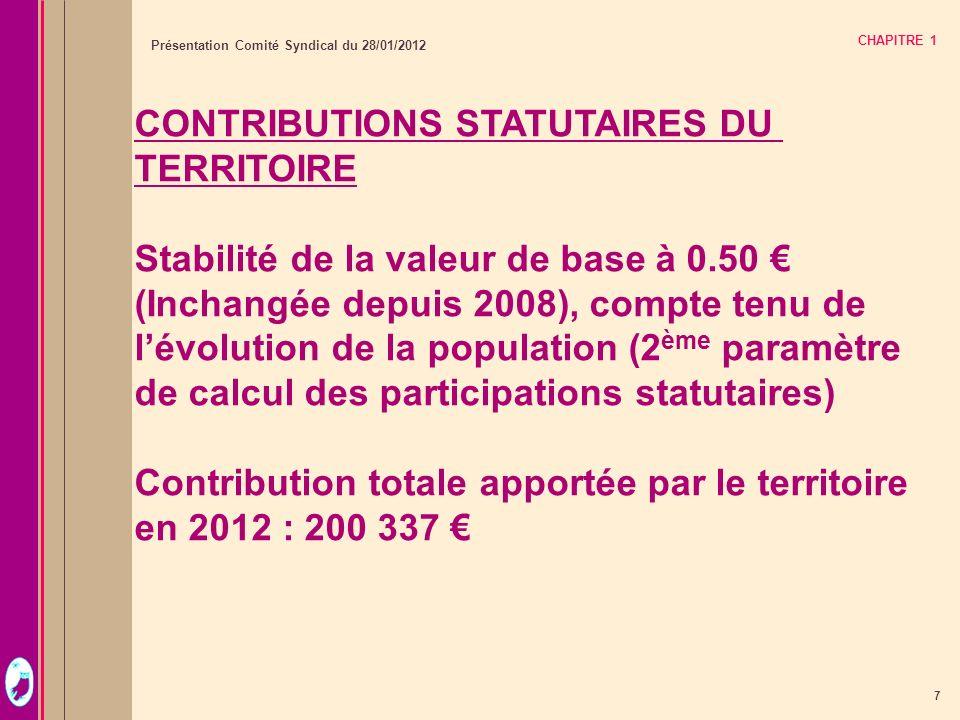 7 Présentation Comité Syndical du 28/01/2012 CHAPITRE 1 CONTRIBUTIONS STATUTAIRES DU TERRITOIRE Stabilité de la valeur de base à 0.50 (Inchangée depui