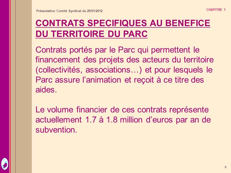 9 Présentation Comité Syndical du 28/01/2012 CHAPITRE 1 CONTRATS SPECIFIQUES AU BENEFICE DU TERRITOIRE DU PARC Contrats portés par le Parc qui permett