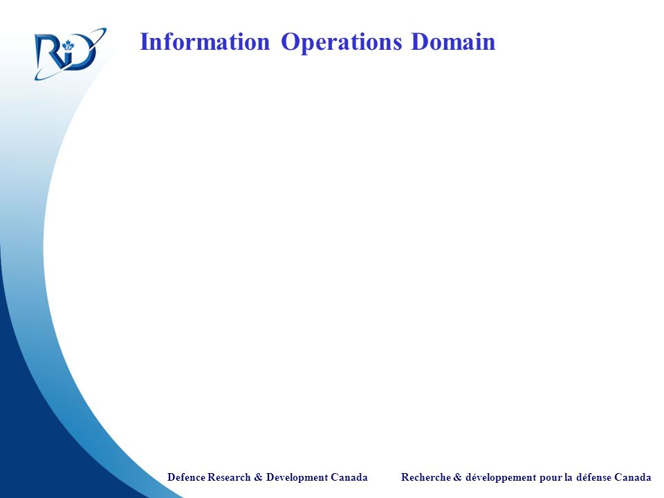 Defence Research & Development Canada Recherche & développement pour la défense Canada Information Operations Domain