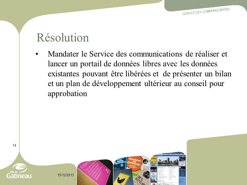 Résolution Mandater le Service des communications de réaliser et lancer un portail de données libres avec les données existantes pouvant être libérées