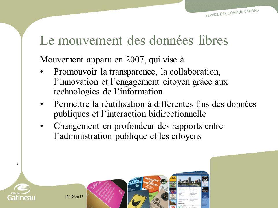 Le mouvement des données libres Mouvement apparu en 2007, qui vise à Promouvoir la transparence, la collaboration, linnovation et lengagement citoyen