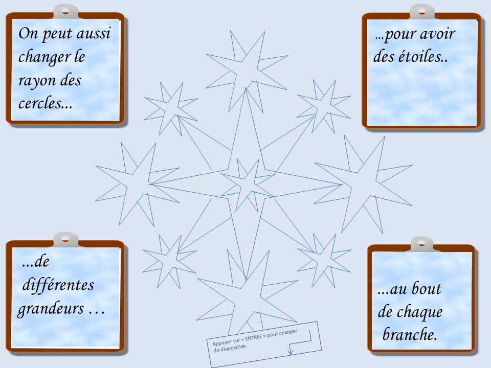 On peut aussi changer le rayon des cercles...... pour avoir des étoiles.....de différentes grandeurs …...au bout de chaque branche. Appuyer sur « ENTR