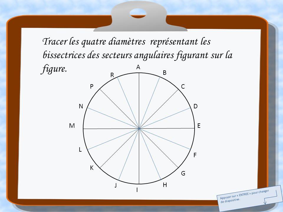 A E I M C G K P B D F H J L N R Tracer les quatre diamètres représentant les bissectrices des secteurs angulaires figurant sur la figure. Appuyer sur