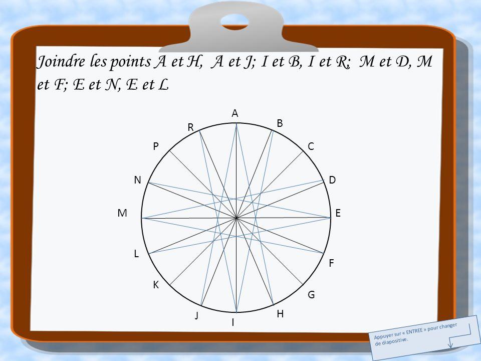 A E I M C G K P B D F H J L N R Joindre les points A et H, A et J; I et B, I et R; M et D, M et F; E et N, E et L Appuyer sur « ENTREE » pour changer