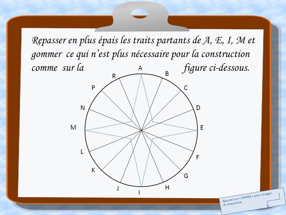 A E I M C G K P B D F H J L N R Joindre les points C et J, C et L; G et N, G et R; K et D, K et B; P et H, P et F.