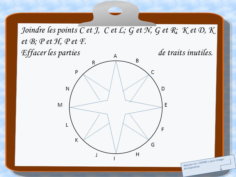 A E I M C G K P B D F H J L N R Joindre les points C et J, C et L; G et N, G et R; K et D, K et B; P et H, P et F. Effacer les parties de traits inuti