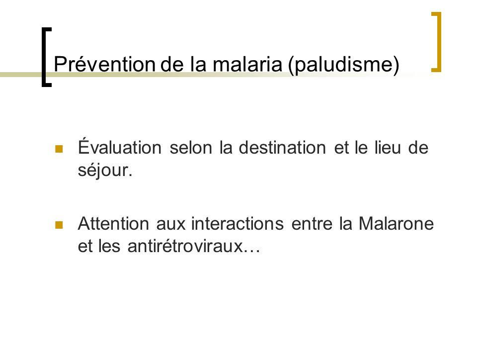 Prévention de la malaria (paludisme) Évaluation selon la destination et le lieu de séjour. Attention aux interactions entre la Malarone et les antirét