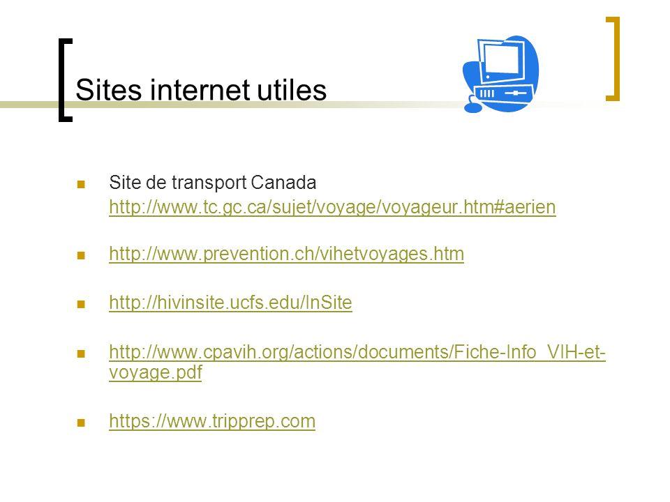 Sites internet utiles Site de transport Canada http://www.tc.gc.ca/sujet/voyage/voyageur.htm#aerien http://www.prevention.ch/vihetvoyages.htm http://h
