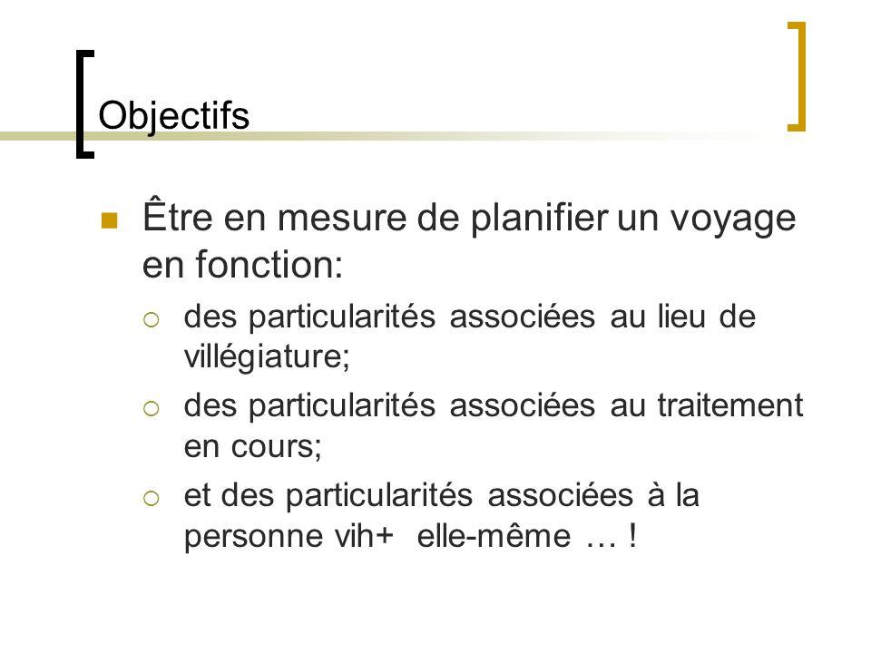 Objectifs Être en mesure de planifier un voyage en fonction: des particularités associées au lieu de villégiature; des particularités associées au tra