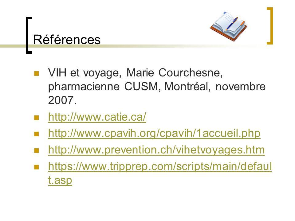 Références VIH et voyage, Marie Courchesne, pharmacienne CUSM, Montréal, novembre 2007. http://www.catie.ca/ http://www.cpavih.org/cpavih/1accueil.php