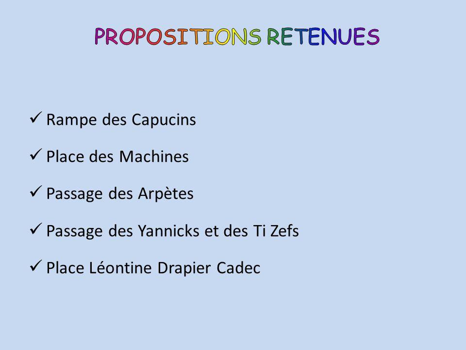 Rampe des Capucins Place des Machines Passage des Arpètes Passage des Yannicks et des Ti Zefs Place Léontine Drapier Cadec