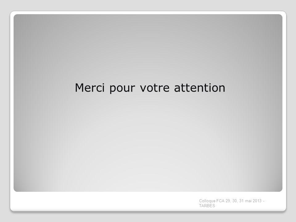 Merci pour votre attention Colloque FCA 29, 30, 31 mai 2013 - TARBES