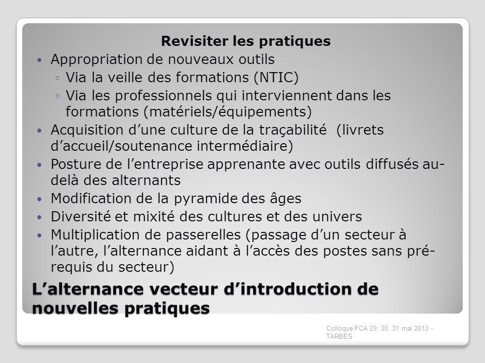 Lalternance vecteur dintroduction de nouvelles pratiques Revisiter les pratiques Appropriation de nouveaux outils Via la veille des formations (NTIC)
