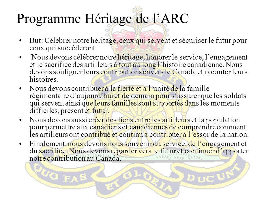 Projets du programme Héritage de lARC Complété: –Cadeau au Capitaine-Générale pour le jubilé de diamant- Broche en diamant.