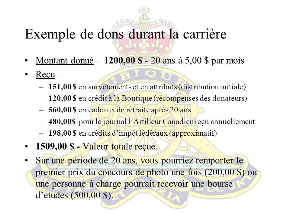 Les dons Pour les militaires en service, le mode de contribution le plus simple consiste à faire une délégation de solde avec le code P028.