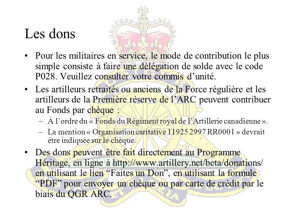 Résumé Tous les artilleurs doivent faire respecter ce patrimoine et rehausser la fière renommée que le Régiment royal de lArtillerie canadienne a établie au fil des ans.