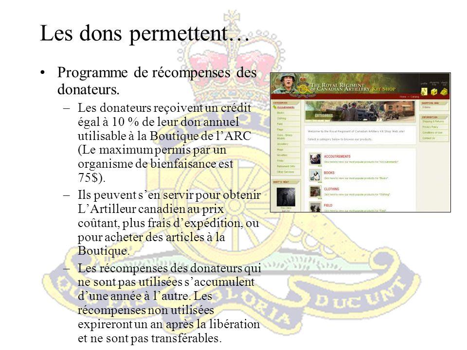 Programme didentité régimentaire Permet de maintenir une identité commune au sein de lArtillerie.