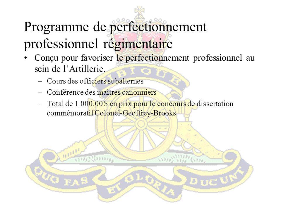 Programme de communication du Régiment Le Régiment a mis sur pied un programme de communication pour informer les artilleurs des nombreuses et diverses activités auxquelles participe lARC.