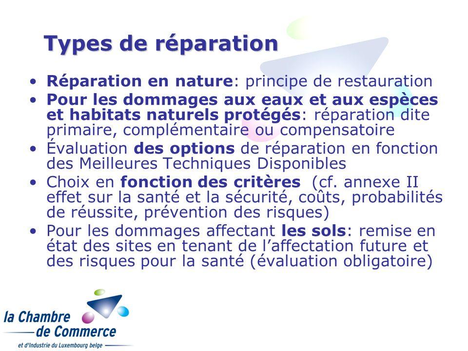 Types de réparation Réparation en nature: principe de restauration Pour les dommages aux eaux et aux espèces et habitats naturels protégés: réparation