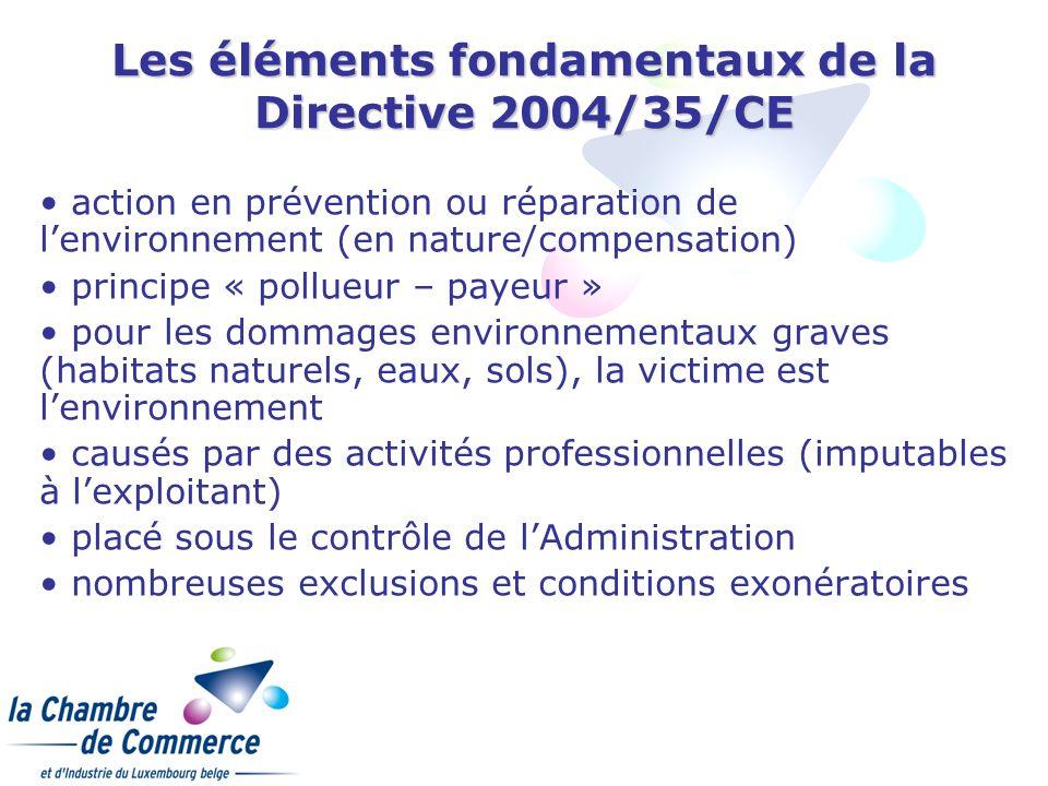 Les éléments fondamentaux de la Directive 2004/35/CE action en prévention ou réparation de lenvironnement (en nature/compensation) principe « pollueur