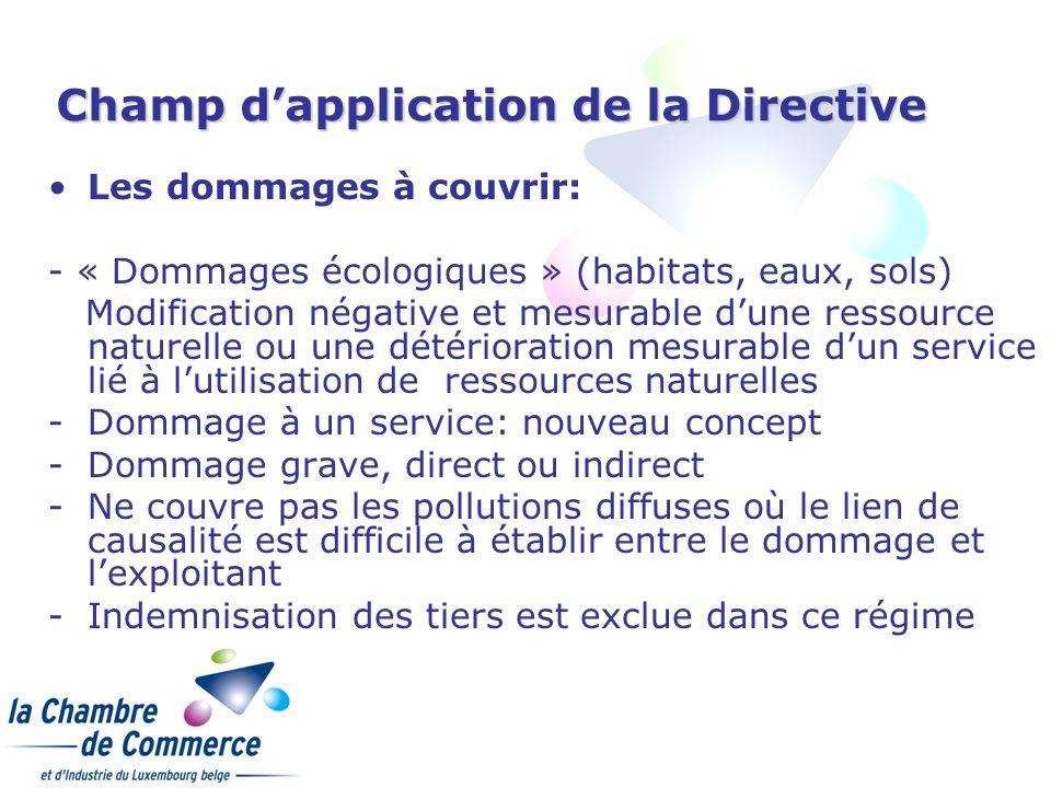 Champ dapplication de la Directive Les dommages à couvrir: - « Dommages écologiques » (habitats, eaux, sols) Modification négative et mesurable dune r