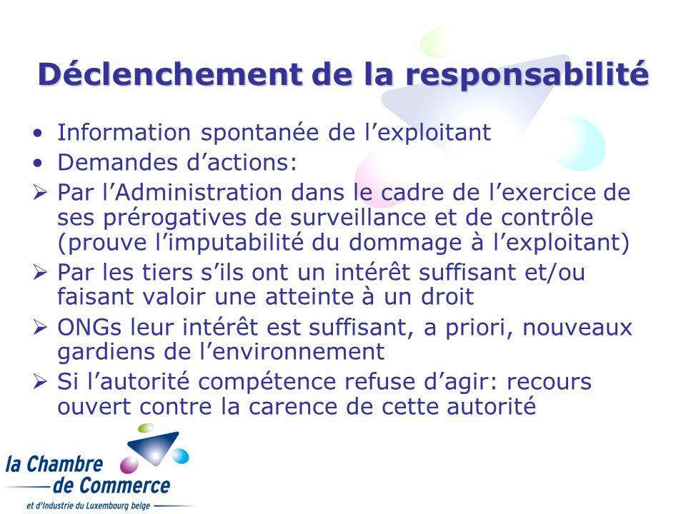 Déclenchement de la responsabilité Information spontanée de lexploitant Demandes dactions: Par lAdministration dans le cadre de lexercice de ses préro