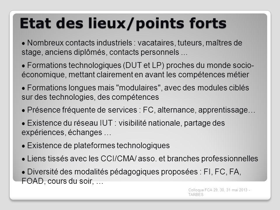 Etat des lieux/points forts Colloque FCA 29, 30, 31 mai 2013 - TARBES Nombreux contacts industriels : vacataires, tuteurs, maîtres de stage, anciens d