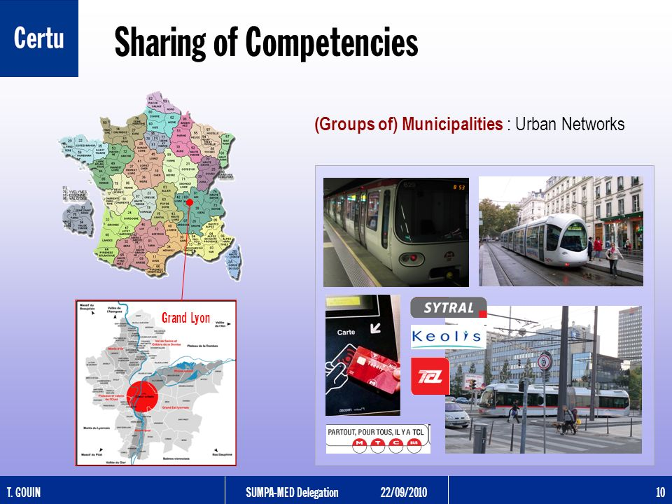 T. GOUINSUMPA-MED Delegation22/09/2010 10 Sharing of Competencies (Groups of) Municipalities : Urban Networks Grand Lyon