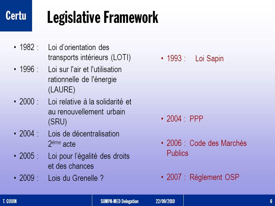 T. GOUINSUMPA-MED Delegation22/09/2010 6 Legislative Framework 1982 : Loi dorientation des transports intérieurs (LOTI) 1996 : Loi sur l'air et l'util