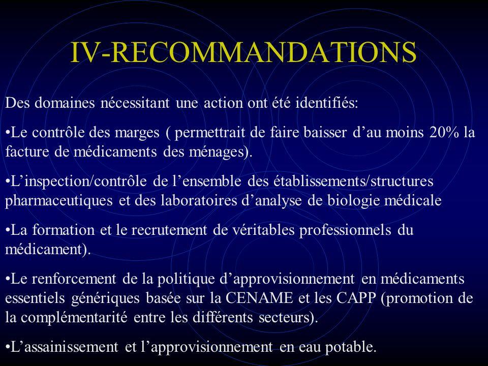 IV-RECOMMANDATIONS Des domaines nécessitant une action ont été identifiés: Le contrôle des marges ( permettrait de faire baisser dau moins 20% la fact