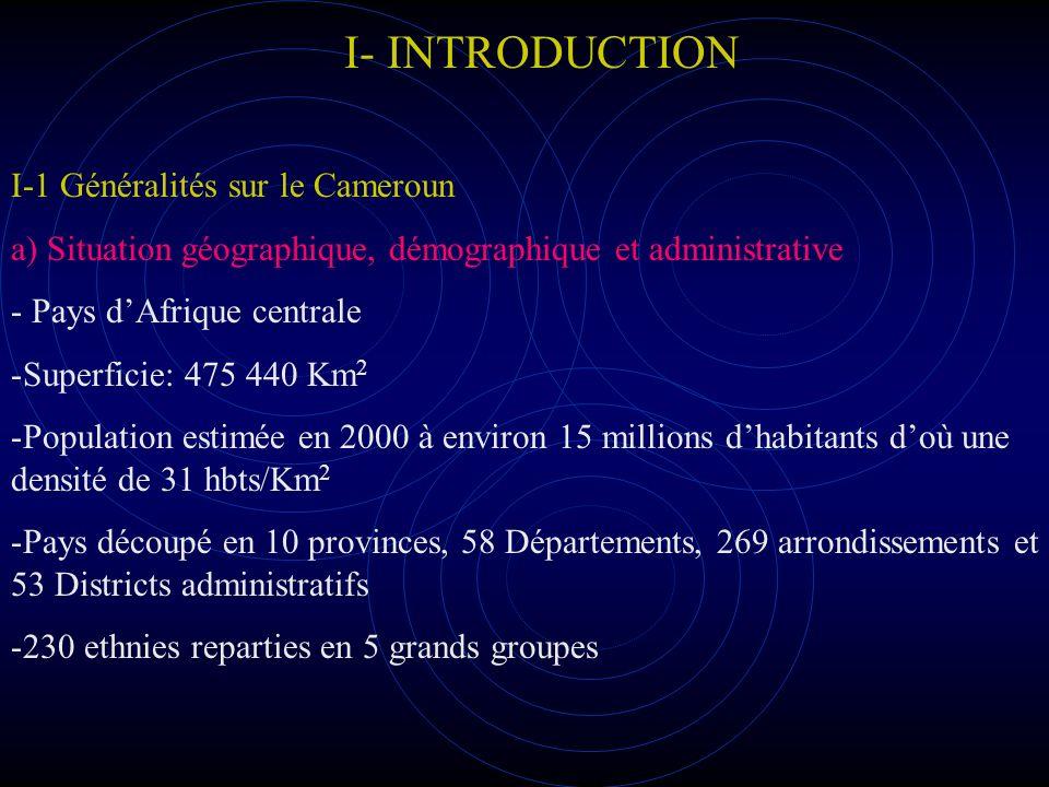 I- INTRODUCTION I-1 Généralités sur le Cameroun b) Système national de santé Le système national de santé est divisé en 3 secteurs (public, PBNL et PBL) Le Secteur Public est structuré en 3 niveaux qui disposent chacun de structures administratives, de structures de dialogue et de formations sanitaires dont: -une dizaine dhôpitaux centraux (2 de références) -9 hôpitaux provinciaux - environ 150 Hôpitaux de districts et 1689 centres de santé - un SYNAME assurant la distribution des médicaments.