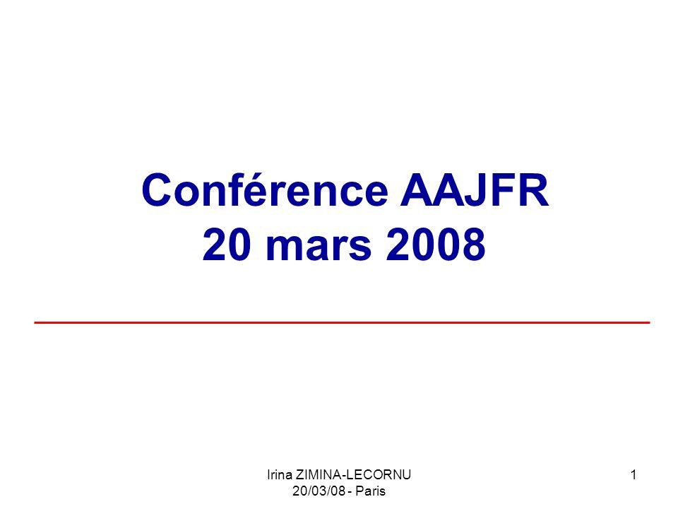 Irina ZIMINA-LECORNU 20/03/08 - Paris 12 1) La notion de SARL dans le droit Russe : A.