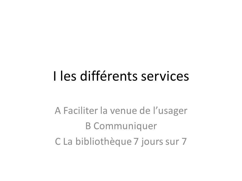 I les différents services A Faciliter la venue de lusager B Communiquer C La bibliothèque 7 jours sur 7