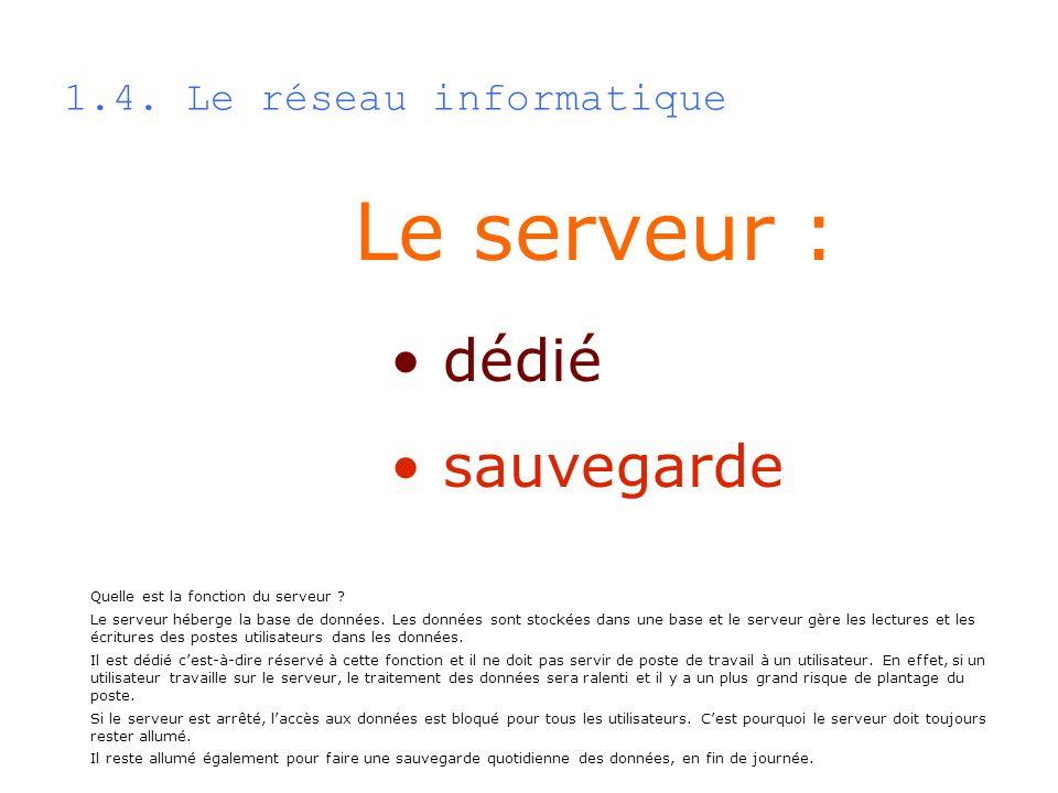 Le serveur : dédié sauvegarde 1.4. Le réseau informatique Quelle est la fonction du serveur ? Le serveur héberge la base de données. Les données sont