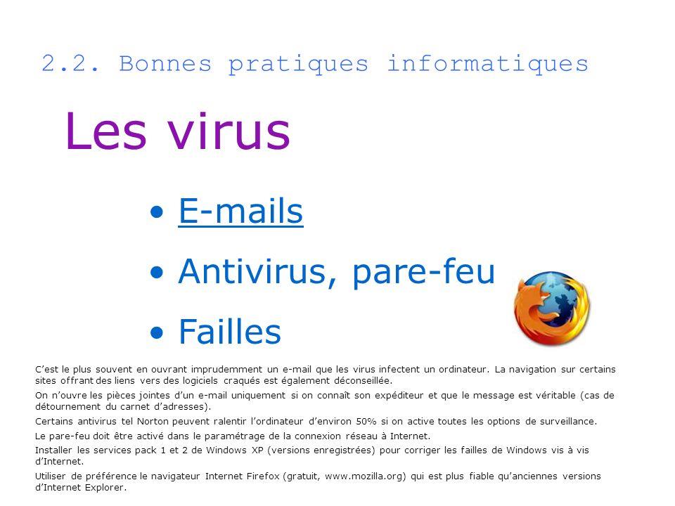 2.2. Bonnes pratiques informatiques Les virus E-mails Antivirus, pare-feu Failles Cest le plus souvent en ouvrant imprudemment un e-mail que les virus