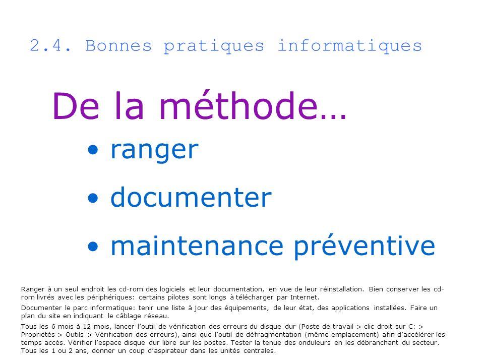 2.4. Bonnes pratiques informatiques De la méthode… ranger documenter maintenance préventive Ranger à un seul endroit les cd-rom des logiciels et leur