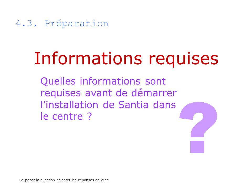 4.3. Préparation Quelles informations sont requises avant de démarrer linstallation de Santia dans le centre ? Informations requises ? Se poser la que